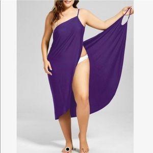 PURPLE Bathing suit wrap style cover - size XXL